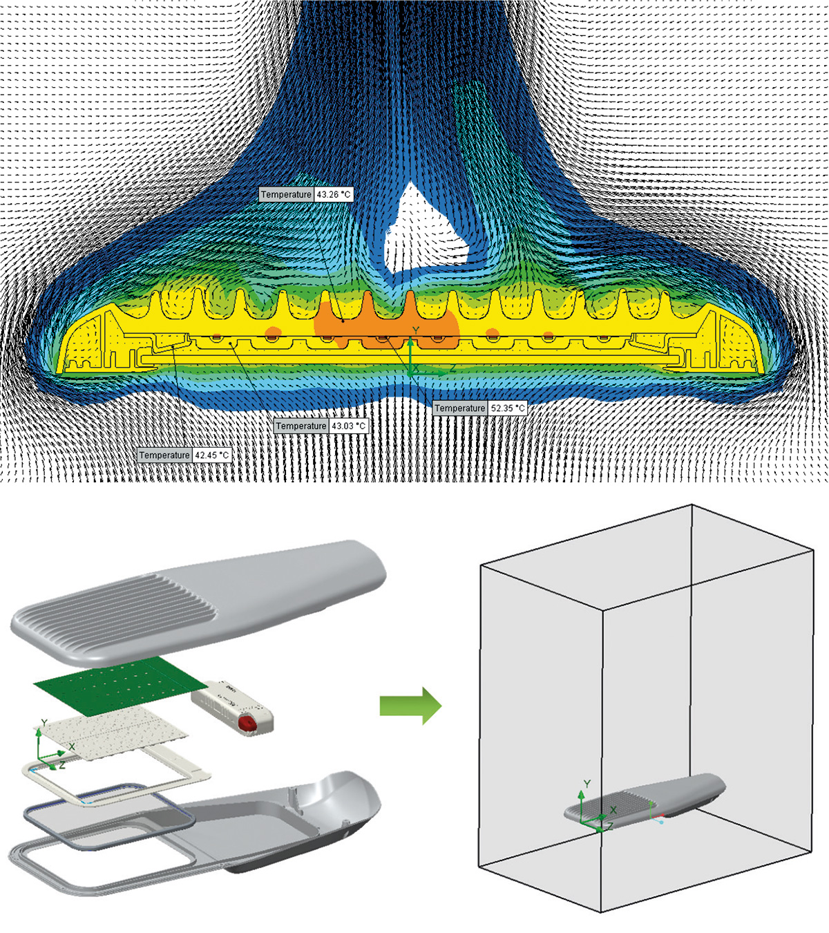 Simulazione della temperatura di un apparecchio a LED per l'illuminazione stradale