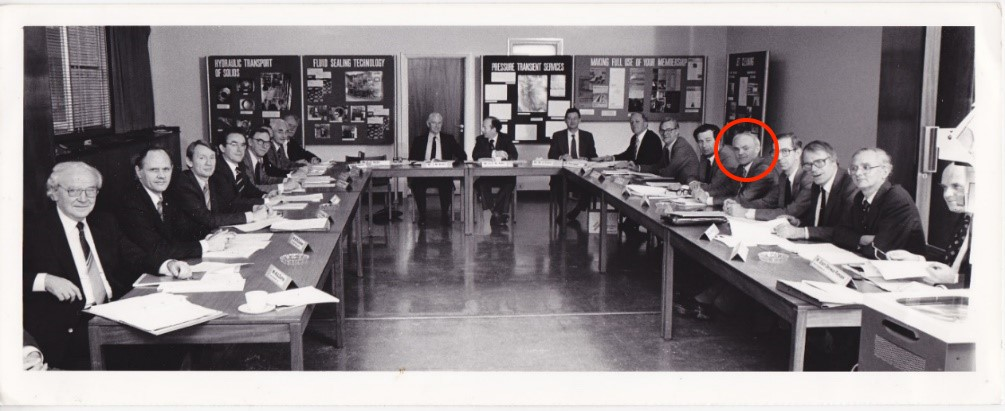 Don Miller during a meeting of BHRA's Council and Heads of Department in the 1970s.